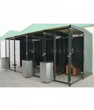 Line of 3 roofed enclosures...